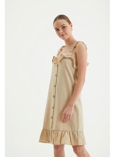 Reyon Askılı Ön Düğmeli Günlük Keten Elbise Bej Bej